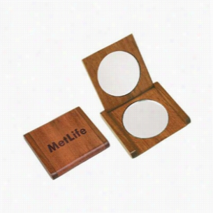 Solid Rosewood Double Mirror Compact