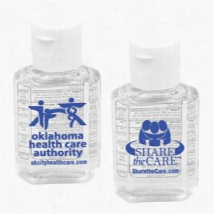 1 oz Compact Hand Sanitizer Antibacterial Gel In Flip-Top Squeeze Bottle (Spot Color Print)