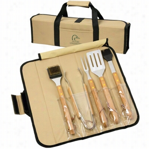 5 Piece BBQ Set(Bamboo) in Roll-Up Case