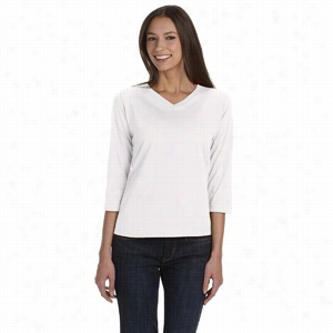 LA T Sportswear Combed Ringspun Jersey V-Neck 3/4-Sleeve T-Shirt