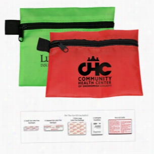 13 Piece On The Go First Aid. In Polyester Zipper Pouch