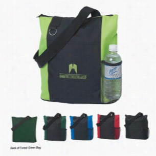 "Polyester Multi Color Zippered Closure Fun Tote Bag 14"" X 14"