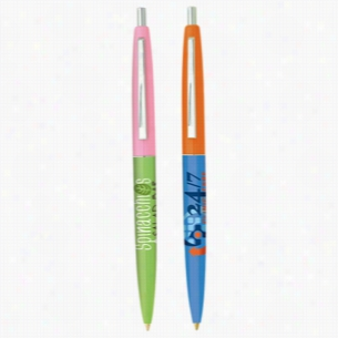 Bic Refillable Clic Ballpoint Pen With Multiple Ink, Barrel & Cap Color Choices