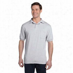 Hanes 5.5 oz 50/50 EcoSmart Jersey Pocket Polo