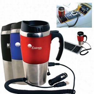 16 oz. Dual Auto USB Heater Mug with Closure Top