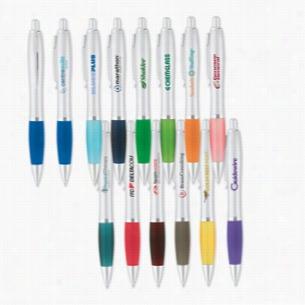 Curvaceous Silver Matte Gel Ink Click Pen