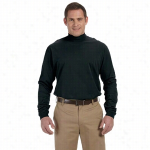 Devon & Jones Sueded Cotton Jersey Mock Turtleneck
