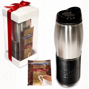 Leather-Wrapped Tumbler with Ghirardelli Hot Cocoa