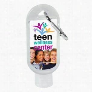 1.8 oz Hand Sanitizer Antibacterial Gel In Flip-Top Bottle with Carabiner (PhotoImage 4 Color)