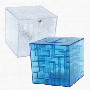 Money Maze Cube Bank: Blue or Clear