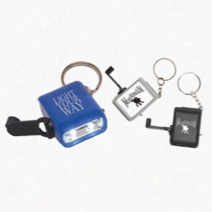 Hand Crank Mini Flashlight Keychain
