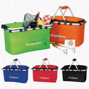 "Polyester Multi Color KOOZIE Easy Storage Picnic Basket 19"" X 9.75"