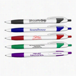 Silhouette Grip Retractable Ballpoint Pens With Rubber Grip