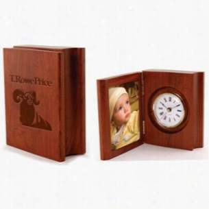 "3 1/4"" x 4 1/4"" Solid Rosewood Folding Photo Frame with Desk Clock"