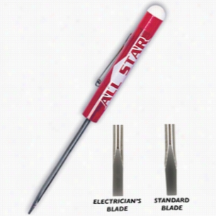 Pocket Screwdriver With Nickel Plated Steel Standard Blade And Button Top