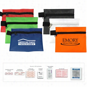 20 Piece Doctor's First Aid Kit In Polyester Zipper Pouch