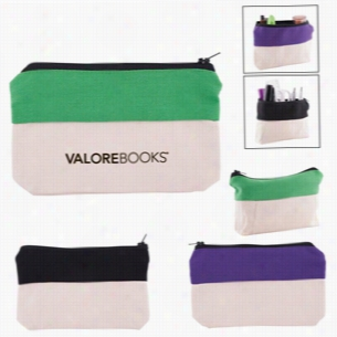 Two-Tone Zip Cotton Valuables School Supplies Pouch
