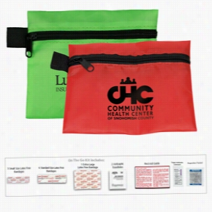 15 Piece On The Go First Aid. In Polyester Zipper Pouch