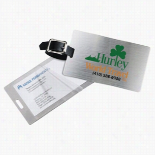 Brushed Aluminum Kwik Seal Luggage Tag (Spot Color Print)