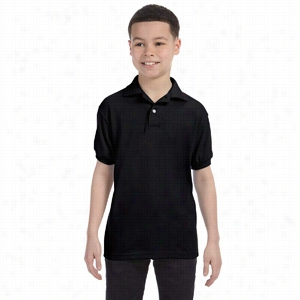 Hanes Youth 5.5 oz 50/50 EcoSmart Jersey Knit Polo
