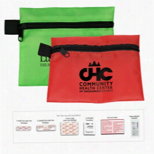 14 Piece On The Go First Aid. In Polyester Zipper Pouch