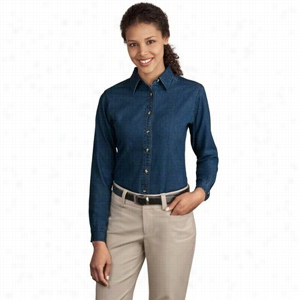 Port & Company Ladies Long Sleeve Value Denim Shirt