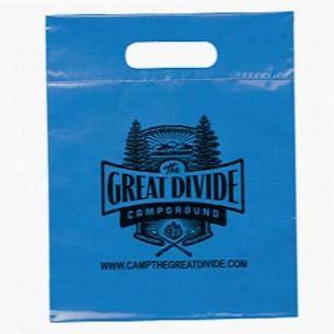 "Frosted Plastic Flexo Ink Multi Color Die Cut Handle Bag 9.5"" X 12"