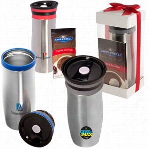 Click 'N Sip Gleam Tumbler & Ghirardelli Cocoa Gift Set