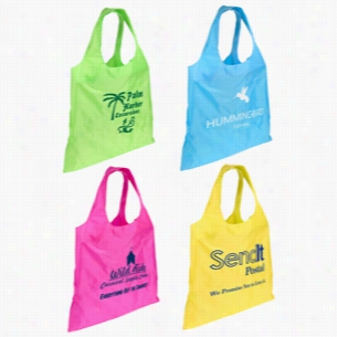 "Polyester Multi Color Spring Sling Folding Tote Bag 16"" X 16"