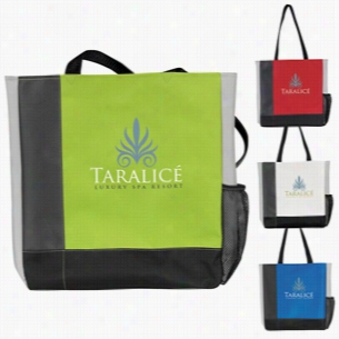 "Polyester Multi Color Tri-Tone Tote Bag 14.5"" X 15.5"