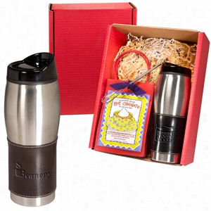 Leather-Wrapped Tumbler & Hot Cocoa Set
