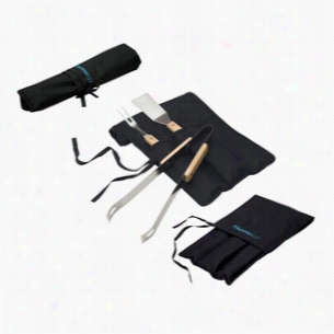 Custom BBQ Gift Set With Fork Spatula and Tongs in Foldover Carry Case