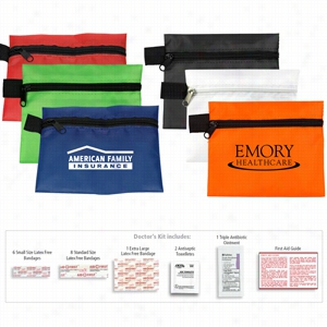 19 Piece Doctor's First Aid Kit In Polyester Zipper Pouch