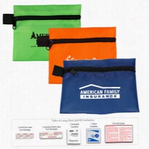 7 Piece Take-A-Long First Aid Kit In Polyester Zipper Pouch