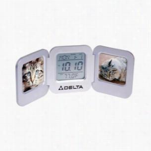 "Aluminum Dual 2"" x 2"" Photo Frame Clock"