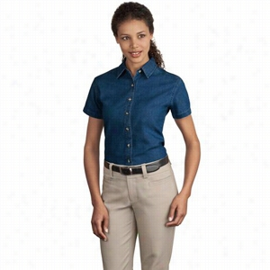 Port & Company Ladies Short Sleeve Value Denim Shirt