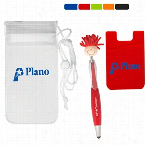 Mop Topper Stylus Pen & Cellphone Pocket in a Clear Pouch