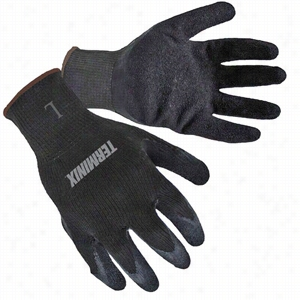 Black Textured Latex Palm Coated Gloves