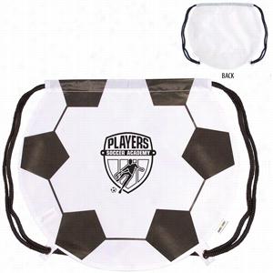 """Polyester Gametime! Soccer Ball Drawstring Backpack 17"""" X 14.5"""