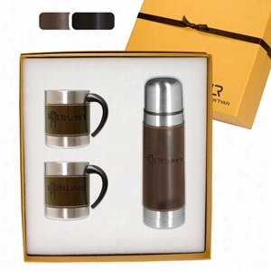 Empire Leather-Stainless Coffee Cup & Thermos Set