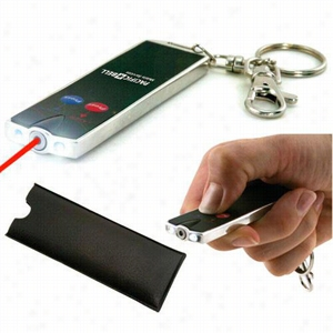 Flat Laser Card Pointer with Dual LED Flashlight and Keychain