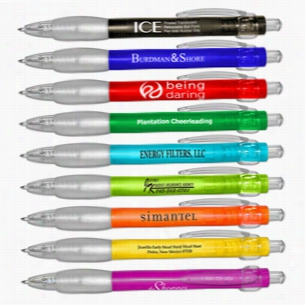 ICE Frosted Translucent Retractable Ballpoint Pens With Clear Rubber Grip