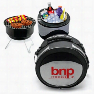 Polyester 2 In 1 Portable Case Cooler & BBQ Grill Combo