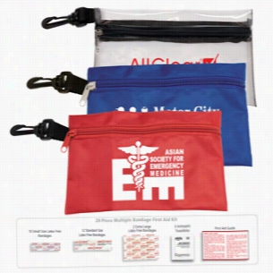 28 Piece Multiple Bandage First Aid Kit In Supersized Zipper Pouch w/Plastic Hook