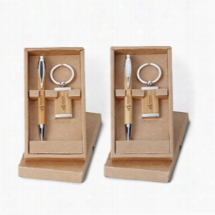 Asia Pen & Bamboo Key Ring Set