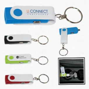 Swivel USB Car Adapter Key Chain