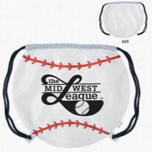 """Polyester Gametime! Baseball Drawstring Backpack 17"""" X 14.5"""