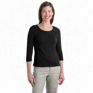 Port Authority Ladies Modern Stretch Cotton 3/4-Sleeve Scoop Neck Shirt