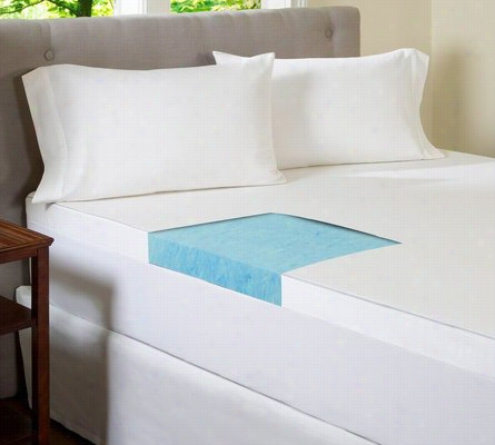 Gel Memory Foam 4 Inch Flat Mattress Topper with 300 TC Cotton Cover Queen
