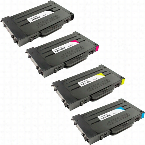 4 Pack - Premium compatible replacement toner cartridge for Samsung CLP-510D5. Set includes 1 Black, 1 Cyan, 1 Magenta and 1 Yellow toner cartridge